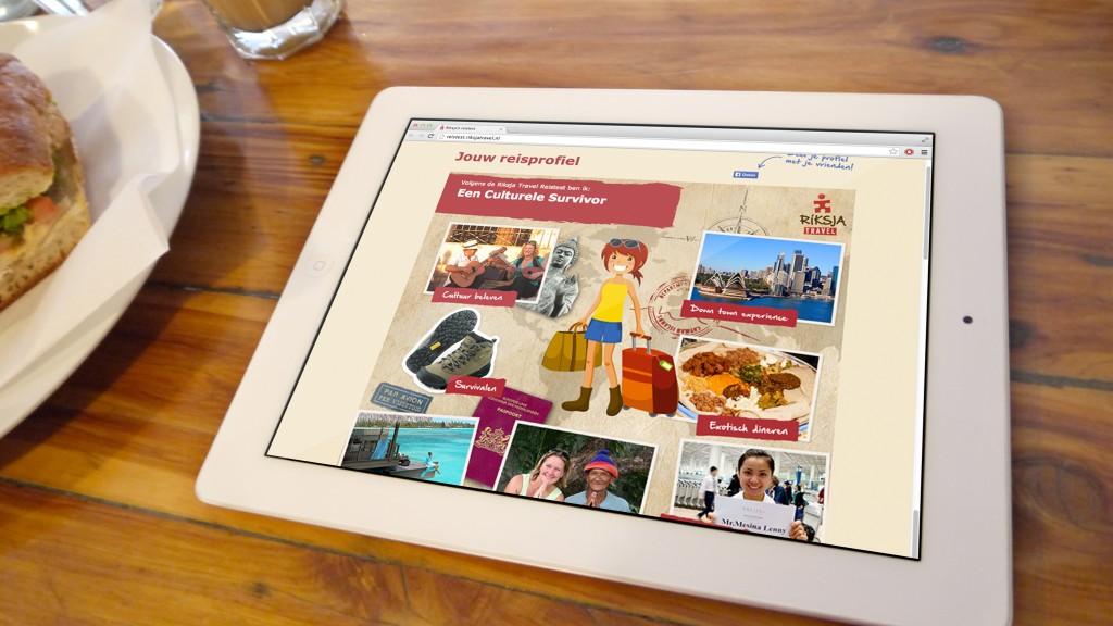 Riksjatravel reisprofiel op ipad aan de ontbijttafel
